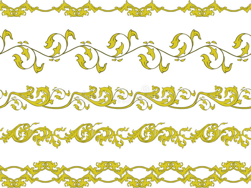 Seamless Decorative Borders Stock Vector - Illustration of gold ...