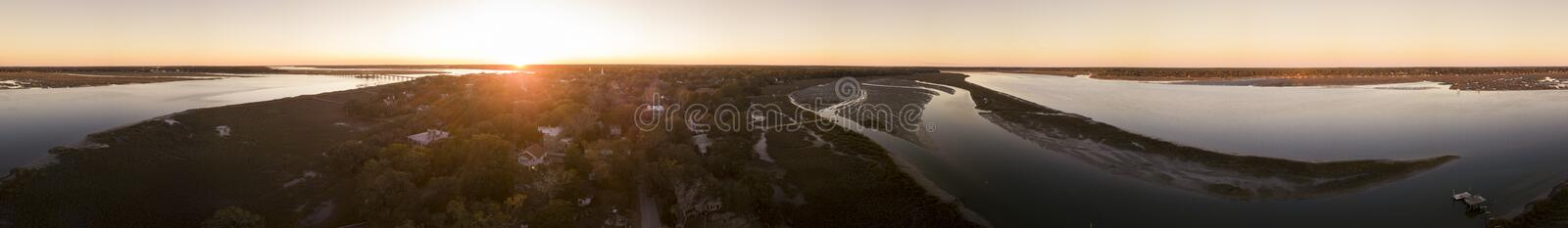 Seamless 360 degree panorama of town and river at sunset, Beaufort, South Carolina. royalty free stock photography