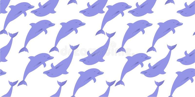 Seamless delfiner mönstrar royaltyfri illustrationer