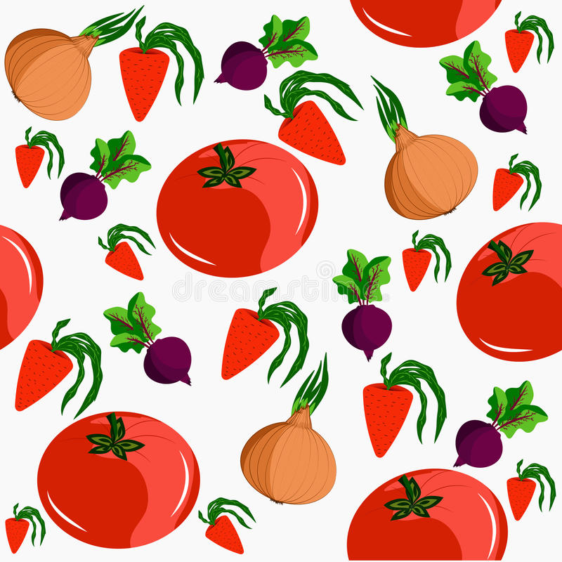 Seamless depicting four vegetables. It can be used for decoration kitchen accessories, tablecloths, fabrics, cutting boards and o. Seamless depicting four vector illustration