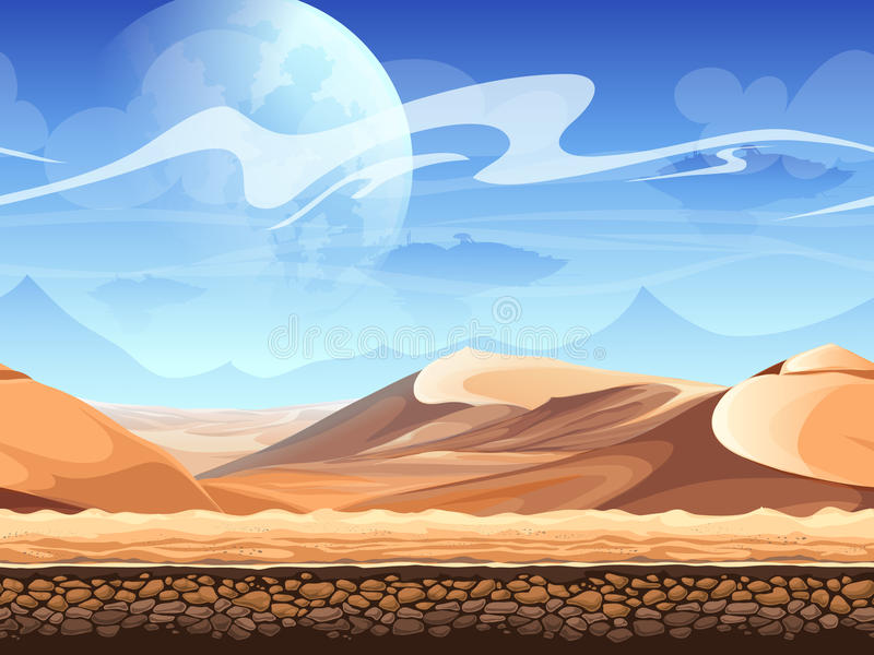 Seamless desert with silhouettes of spaceships. For newspapers, magazines, web design, flyers, websites, printing vector illustration