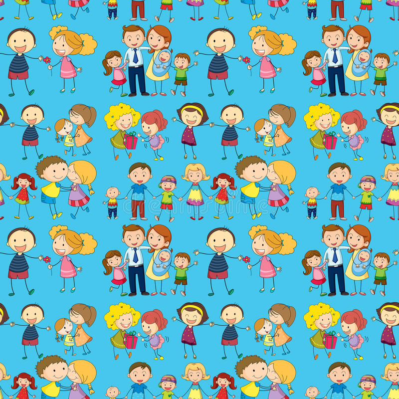 Seamless design of a family vector illustration