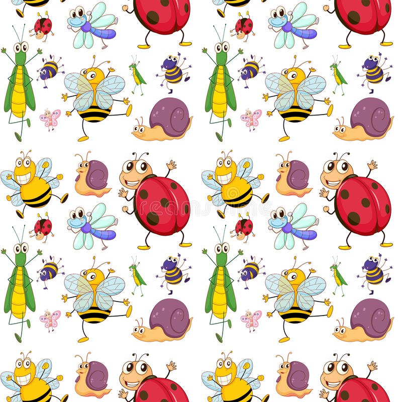 Seamless design with insects. Illustration of the seamless design with insects on a white background vector illustration