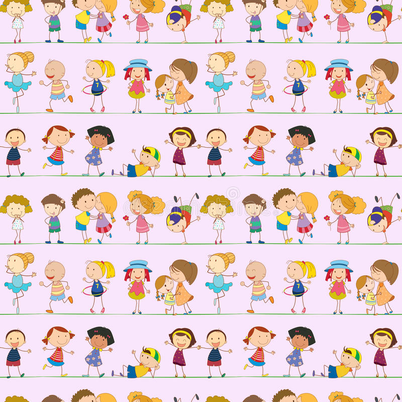Seamless design with kids royalty free illustration