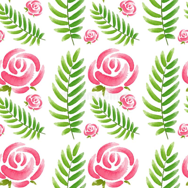 Seamless design with pink roses and green leaves stock illustration