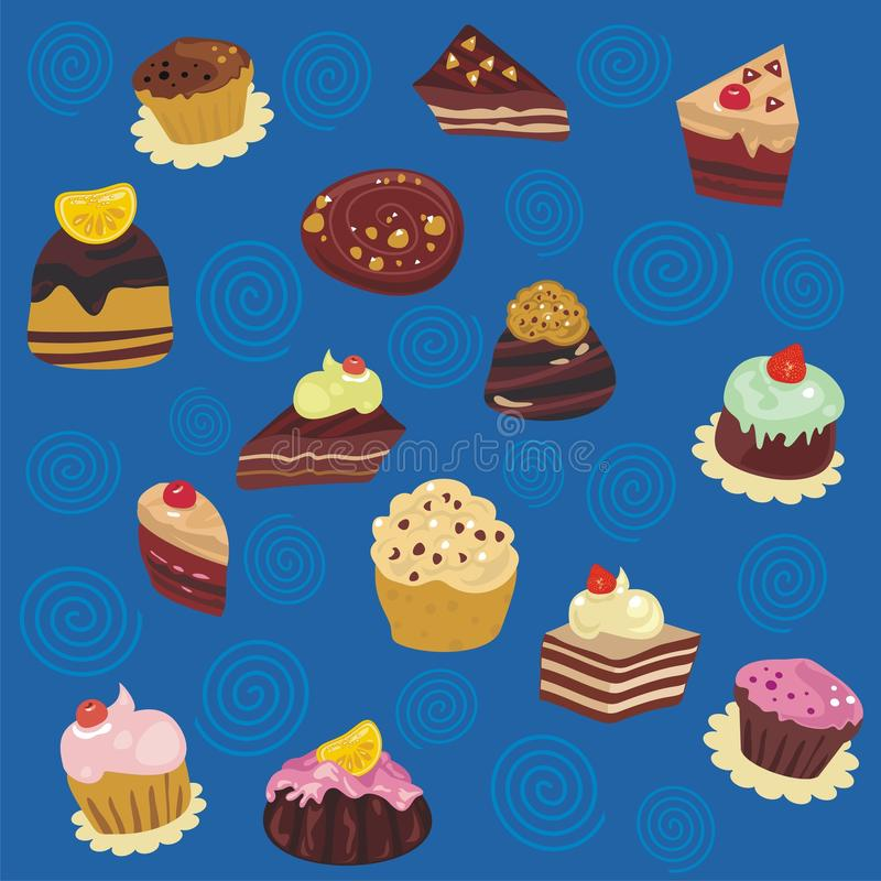 Seamless Desserts Pattern. Seamless pattern with various pastries and confectioneries vector illustration