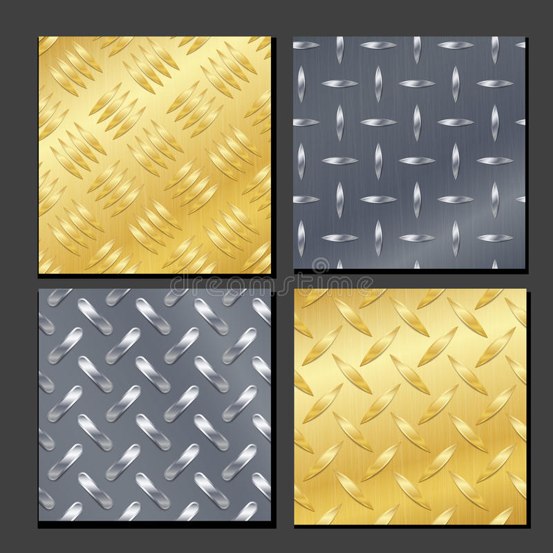 Seamless Diamond Metal Background Set With Tread Plate. Gold, Chrome, Silver, Steel, Aluminum. Vector Realistic Pattern. royalty free illustration