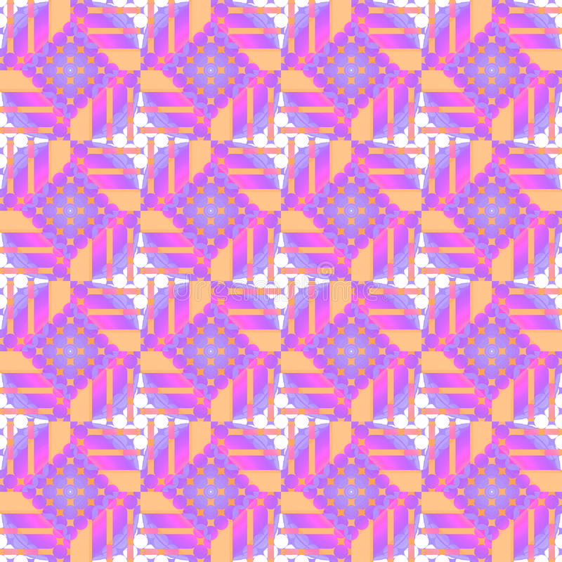 Seamless diamond pattern with circles purple white violet orange vector illustration