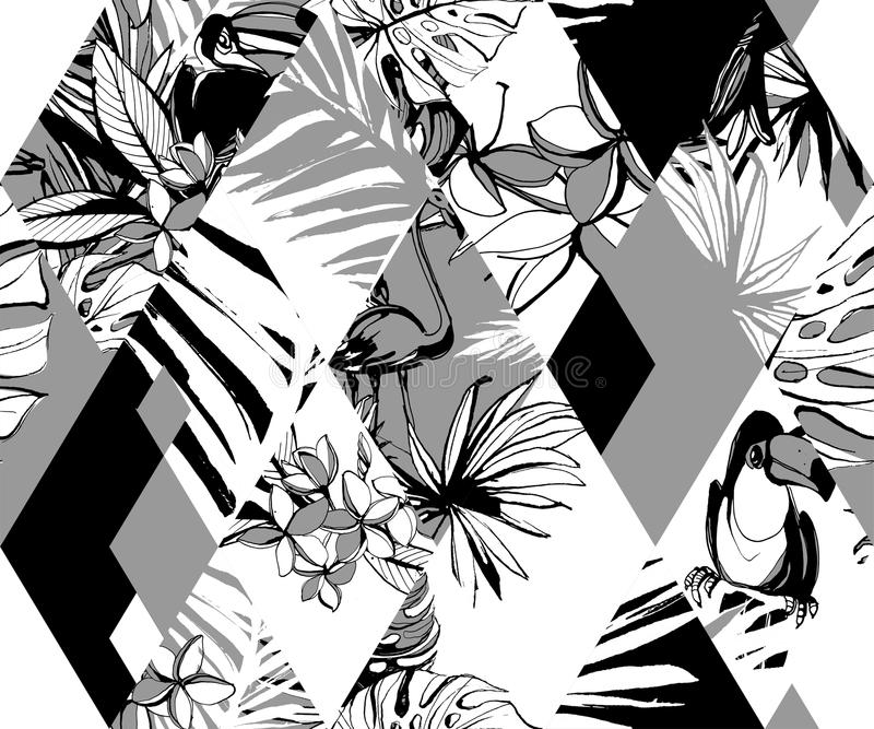 Seamless diamond pattern Tropical birds palms flowers. Grunge ink style. stock illustration