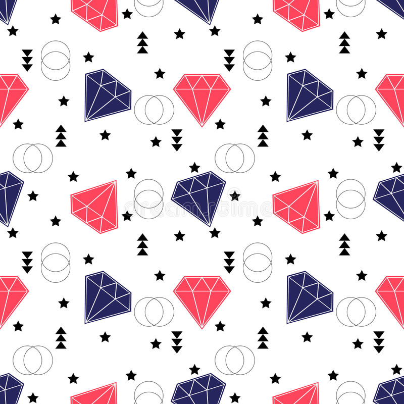 Seamless diamonds pattern. Background with colorful gemstones vector illustration