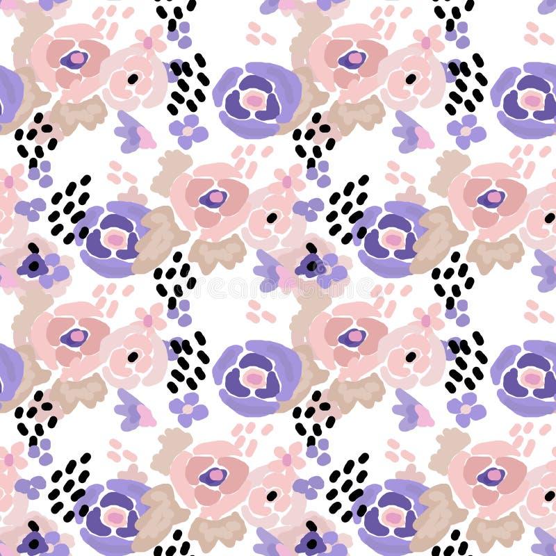 Seamless digital brush stroke flowers pattern stock illustration