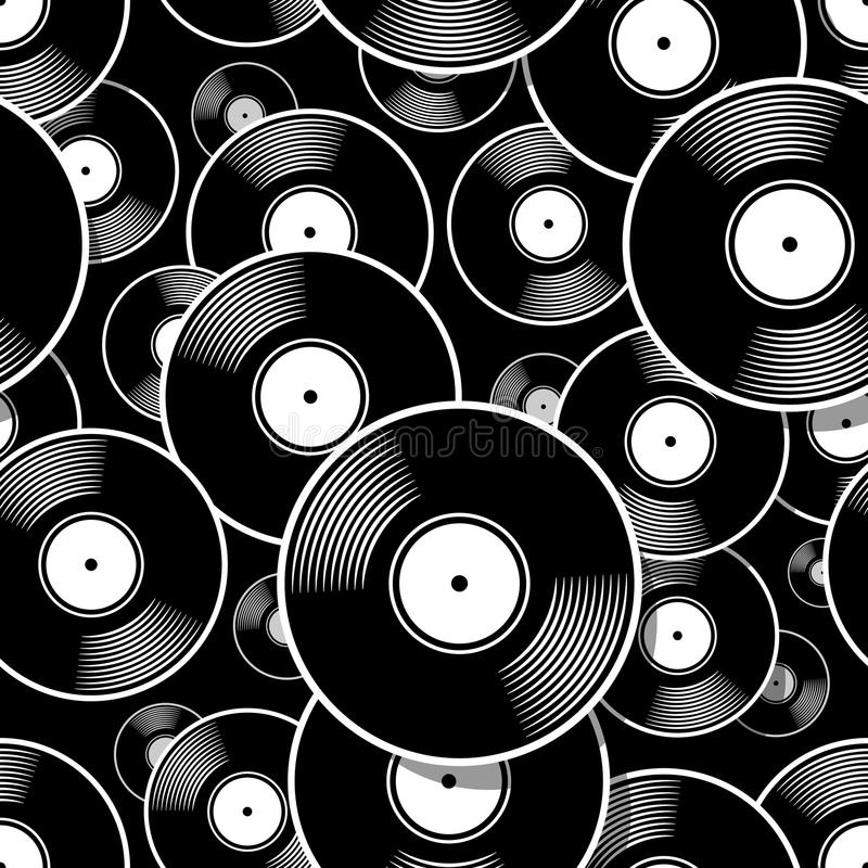 Seamless digital pattern with retro vintage vinyl record vector graphic. Retro music vintage vinyl record icon printable seamless pattern. Vector illustration stock illustration