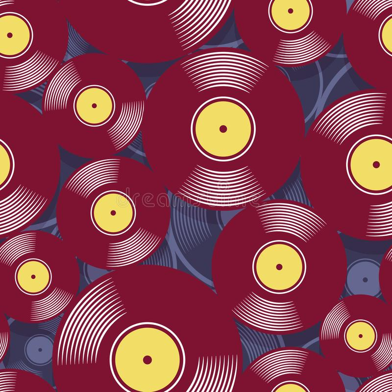Seamless digital pattern with retro vintage vinyl record vector graphic. Retro music vintage vinyl record icon printable seamless pattern. Vector illustration vector illustration
