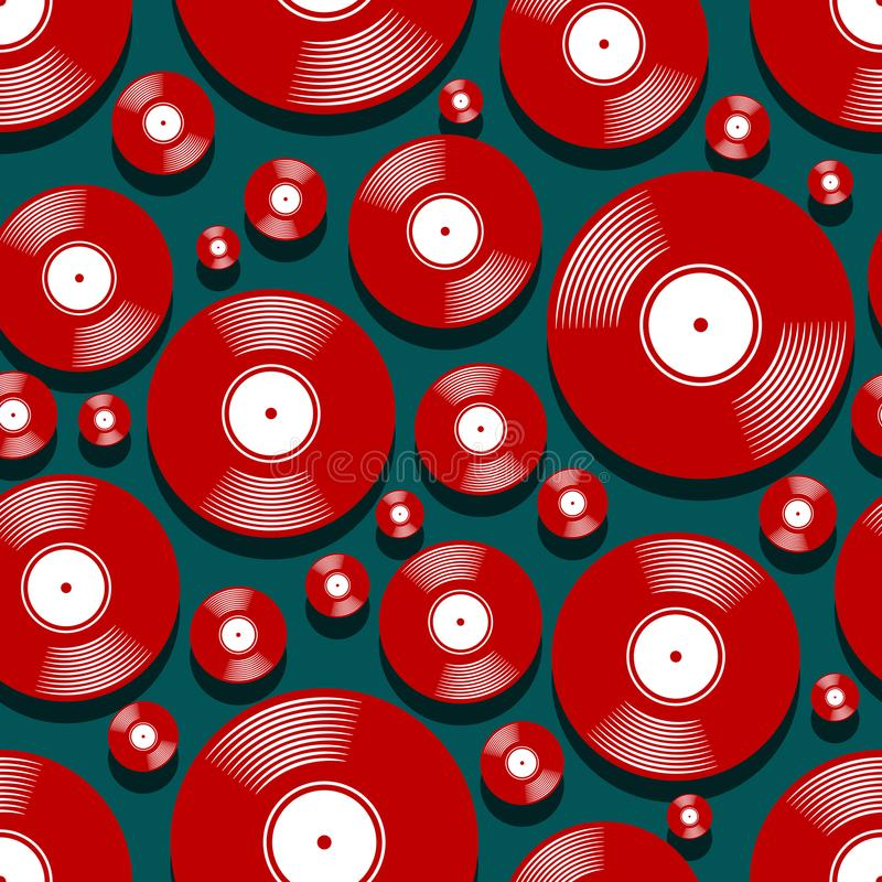 Seamless digital pattern with retro vintage vinyl record vector graphic. Retro music vintage vinyl record icon printable seamless pattern. Vector illustration royalty free illustration