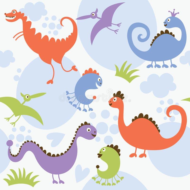 seamless dinosaurmodell vektor illustrationer