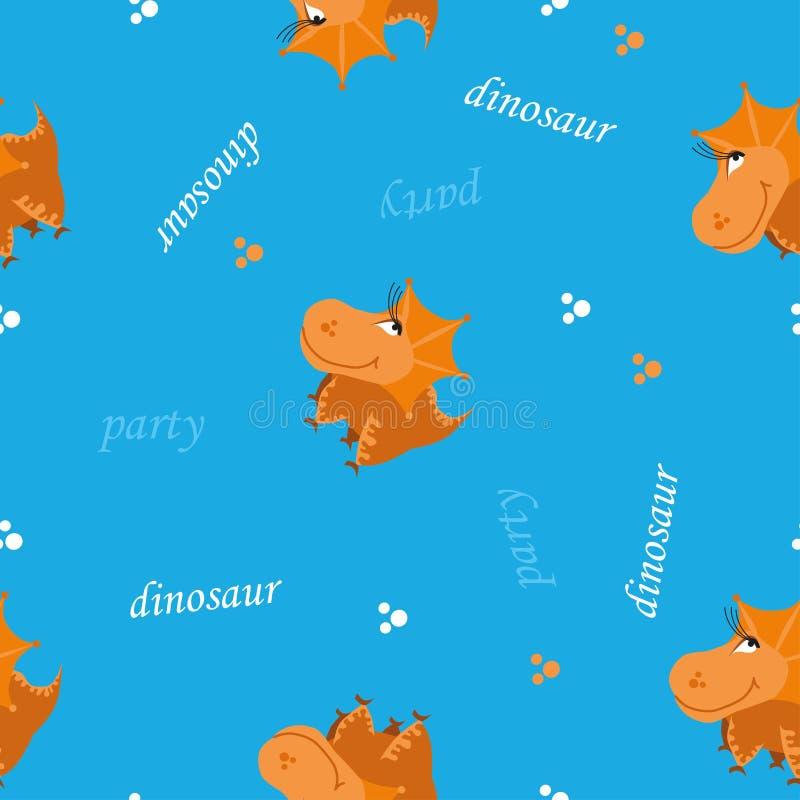seamless dinosaurmodell Djur ljus blå bakgrund med orange dino ocks? vektor f?r coreldrawillustration vektor illustrationer