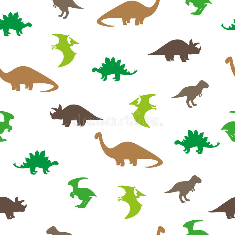 Seamless Dinosaurs mönstrar stock illustrationer