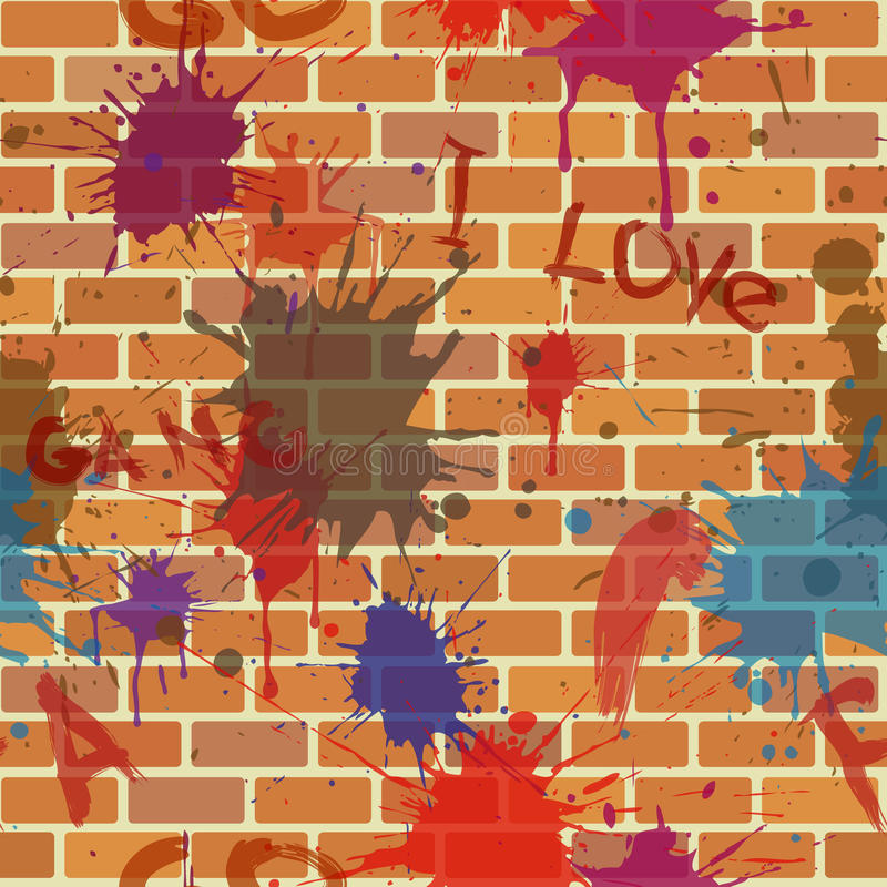 Seamless dirty brick wall, graffiti, paint royalty free illustration