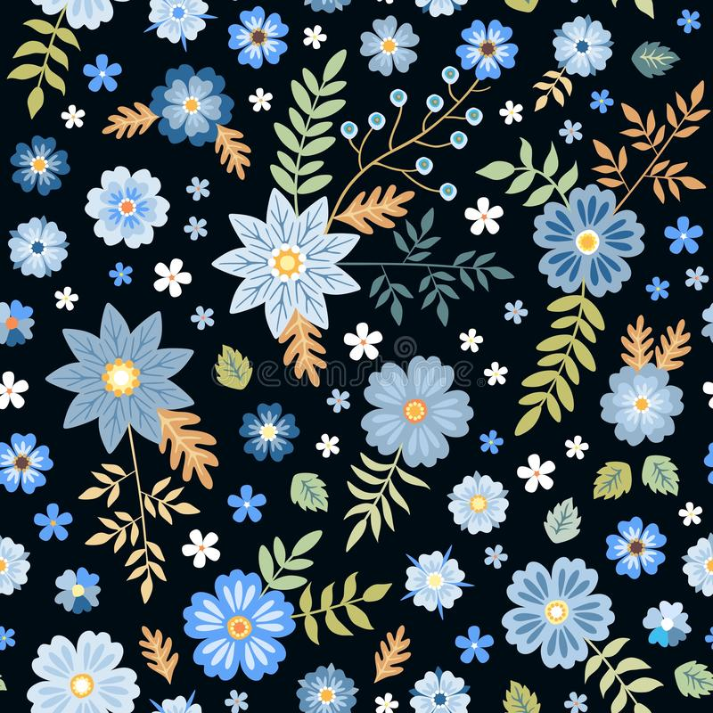 Seamless ditsy floral pattern with blue flowers on black background. Fashion print for fabric. vector illustration