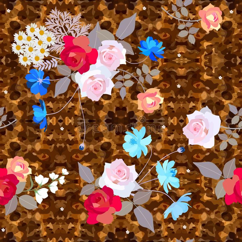 Seamless ditsy floral pattern with cute bouquets of roses, cosmos and bell flowers on ornate brown background royalty free illustration