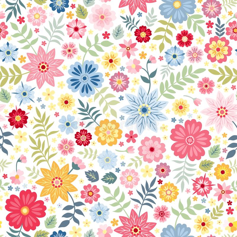 Seamless ditsy floral pattern with cute little flowers on white background. Vector illustration. royalty free illustration