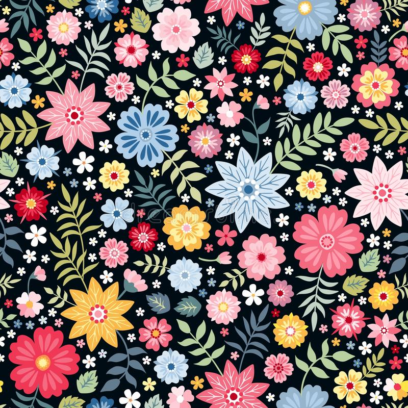 Seamless ditsy floral pattern with fantasy little flowers and leaves in folk style. Vector illustration. royalty free illustration