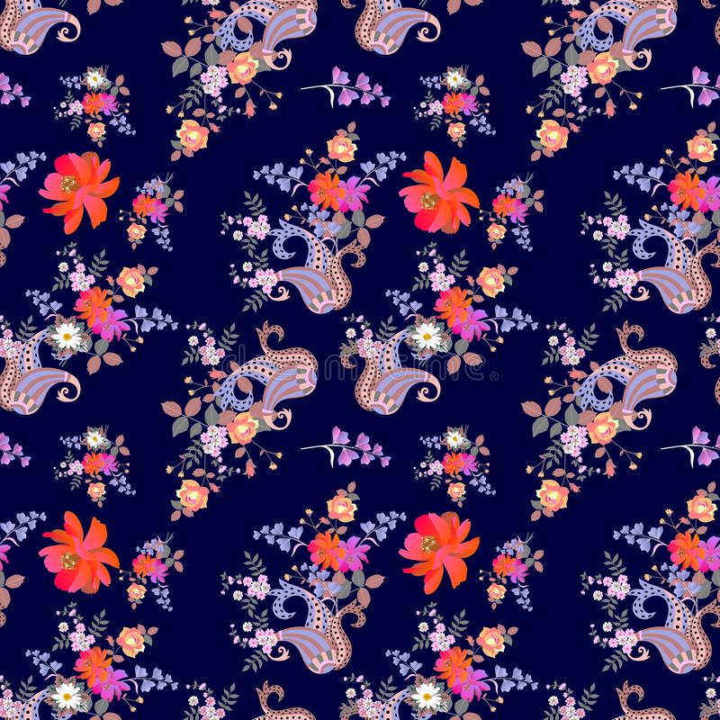 Seamless ditsy floral pattern with paisley. Orange cosmos flowers in watercolor style, bell flowers, daisies, roses. On dark blue background. Fashionable print stock illustration