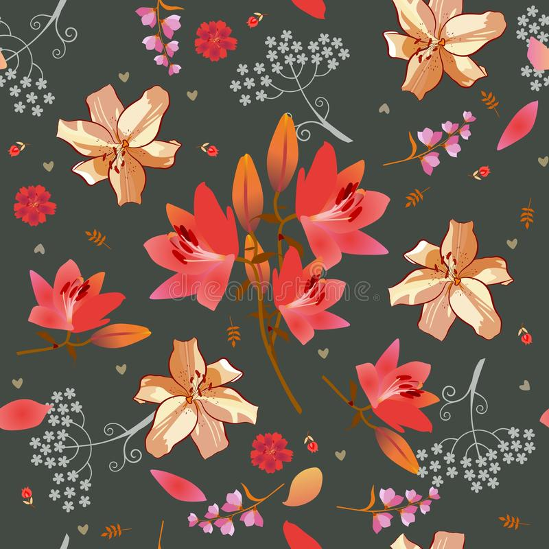 Seamless ditsy floral pattern with pink and golden lilies, bell and umbrella flowera, tiny tulips and little hearts. On dark grey background. Print for fabric royalty free illustration