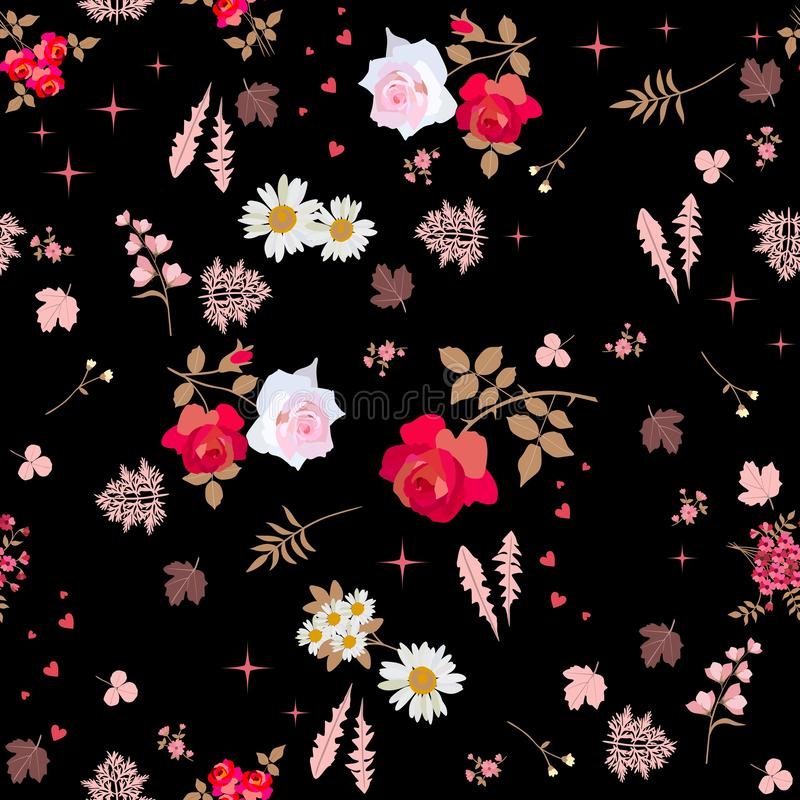 Seamless ditsy floral pattern with roses, daisies and bell flowers and silhouettes of leaves on night sky background. Vector. Summer design. Print for fabric royalty free illustration