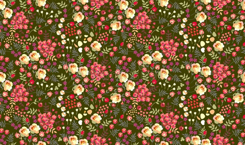Seamless ditsy floral pattern with roses, tulips, leaves and petals on dark green background. Vector summer design royalty free illustration
