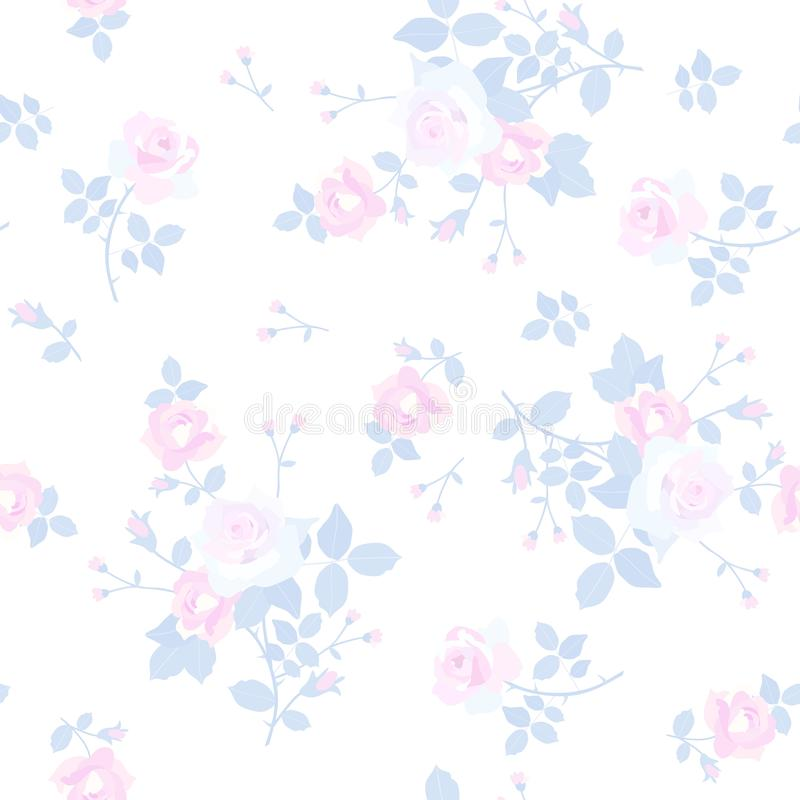 Seamless ditsy floral pattern with tender little bunchs of rose flowers isolated on white background. Wallpepr, print for fabric stock illustration