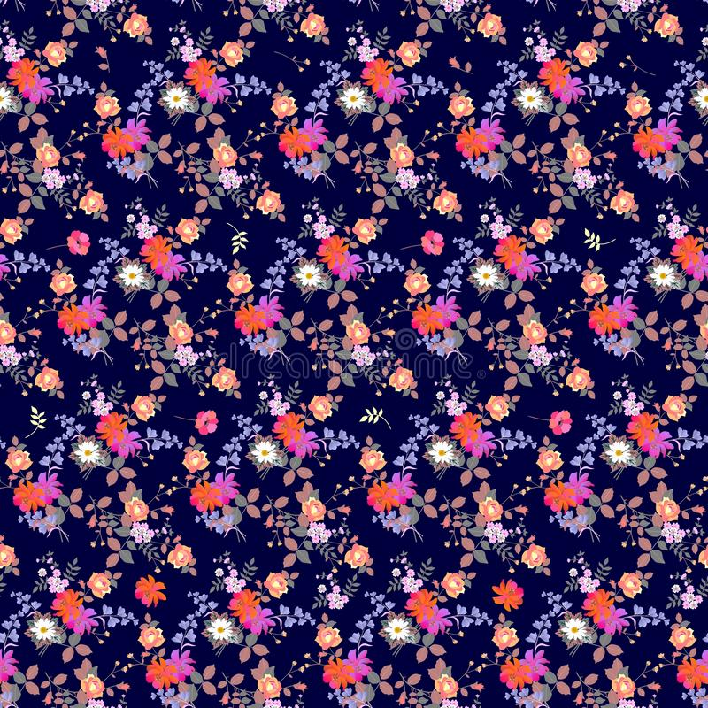Seamless ditsy natural autumn pattern. Bunches of garden flowers on dark blue background royalty free illustration