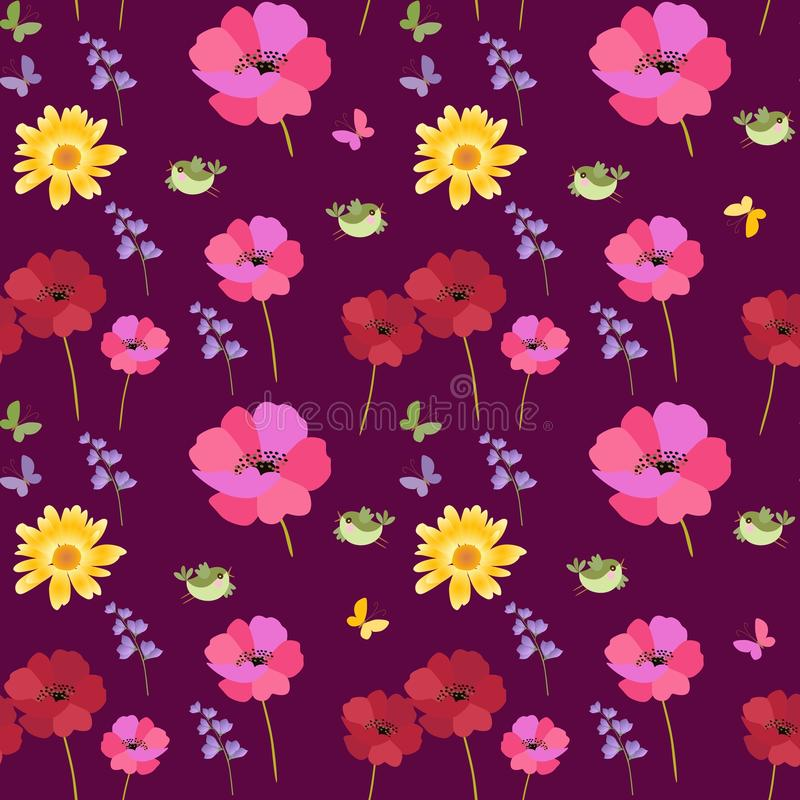 Free Seamless Ditsy Natural Print For Fabric With Funny Birds, Butterflies, Red And Pink Poppies, Marigold And Bell Flowers Stock Images - 137285444