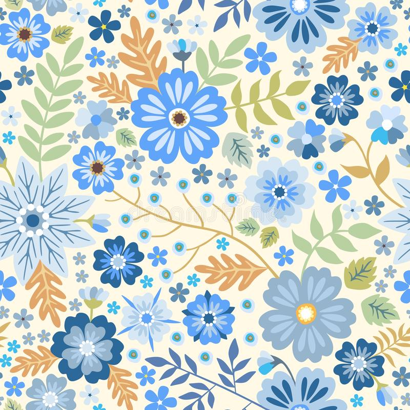 Seamless ditsy pattern with blue flowers on white background. Decorative vector print royalty free illustration