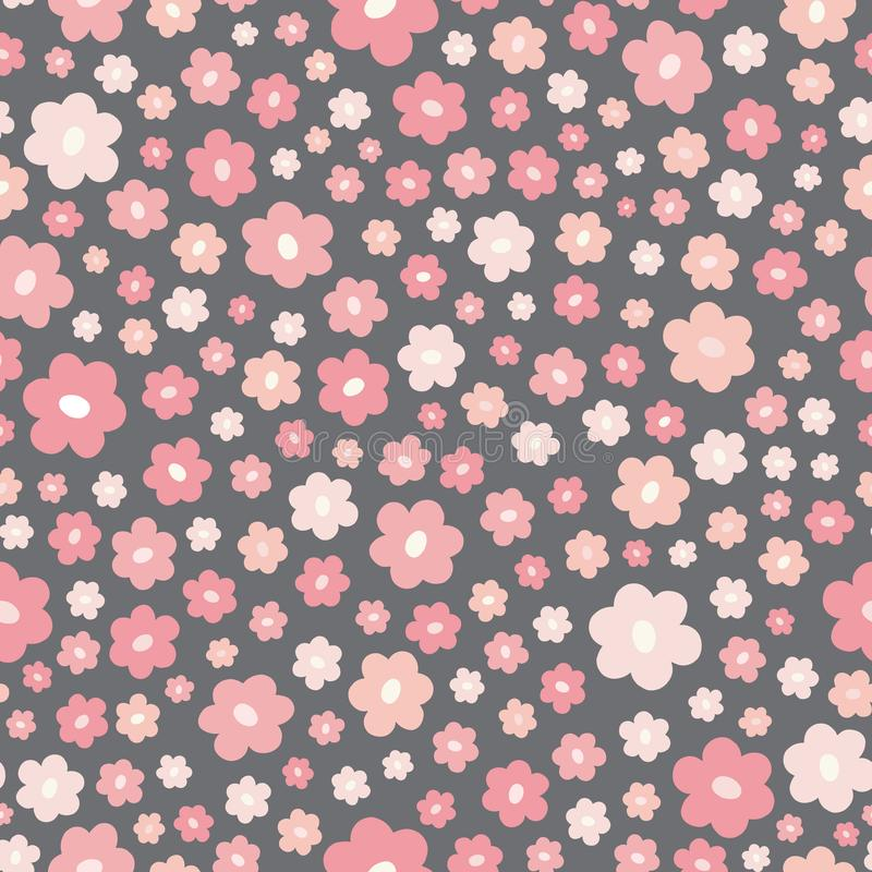 Seamless ditsy repeat pattern of stylized pink flowers. A pretty floral vector tossed design background. vector illustration