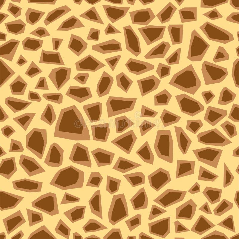 seamless djur modell Efterföljdtryck av hud av giraffet Bruna fläckar på beige bakgrund vektor illustrationer