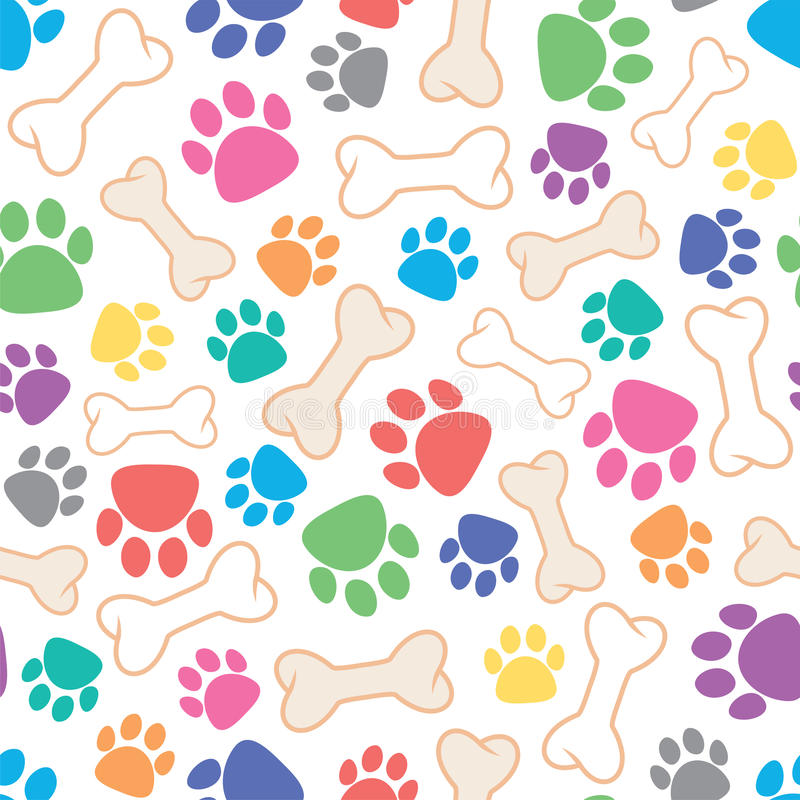 Free Seamless Dog Pattern With Bone And Dog`s Footprint Symbol, Vector Royalty Free Stock Image - 89758346