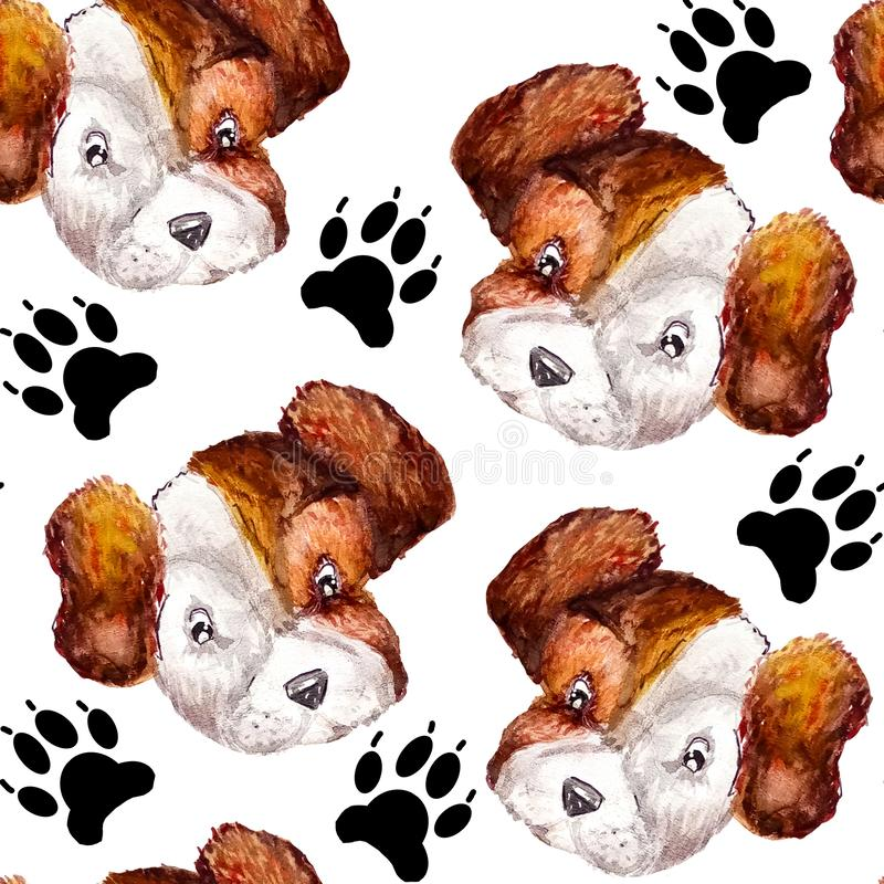 Seamless doggy watercolor pattern of puppy black paw prints and portraits of white with brown puppy jack russell terrier heads on royalty free illustration