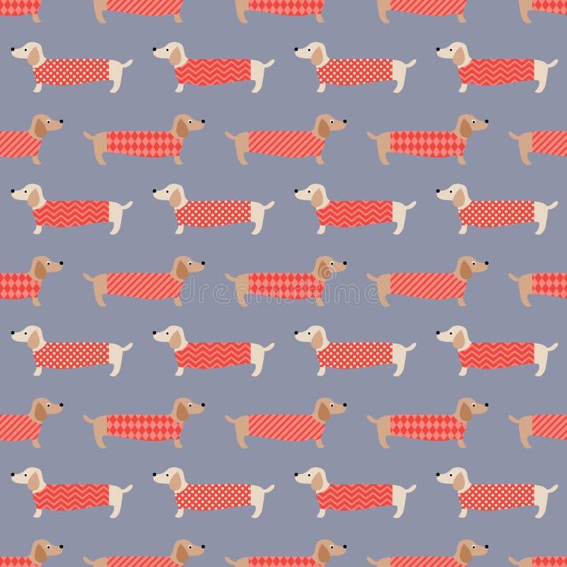Seamless dogs fabric pattern royalty free illustration