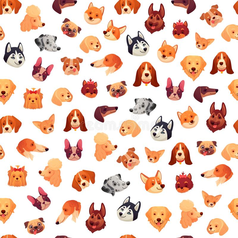 Seamless dogs faces. Funny dog face, puppy pet head and animals group vector background pattern royalty free illustration