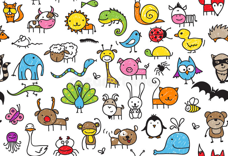 Seamless doodle animal pattern royalty free illustration