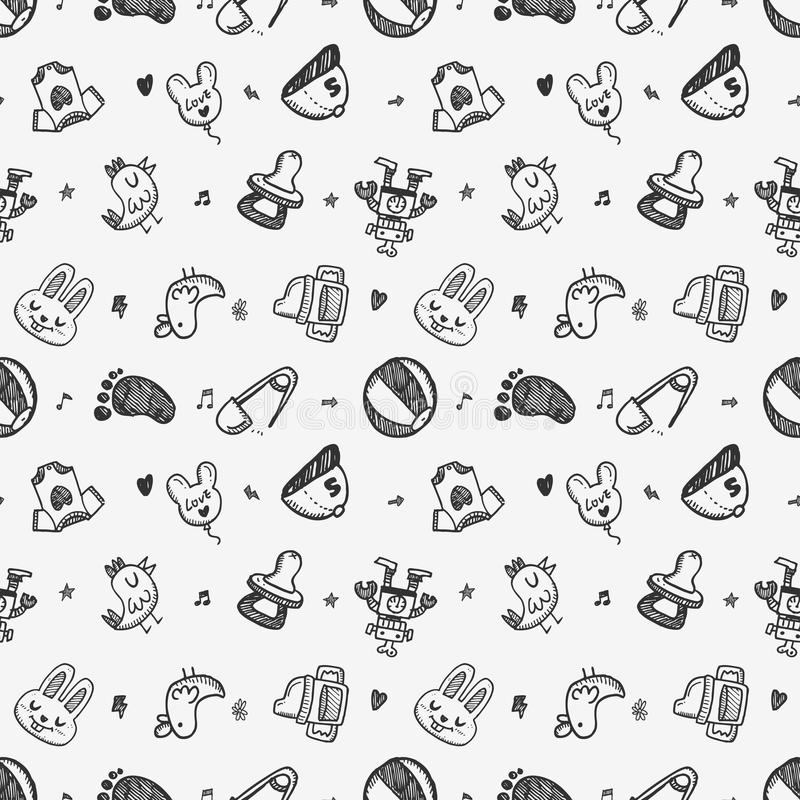 Free Seamless Doodle Baby Pattern Background Stock Image - 41632941