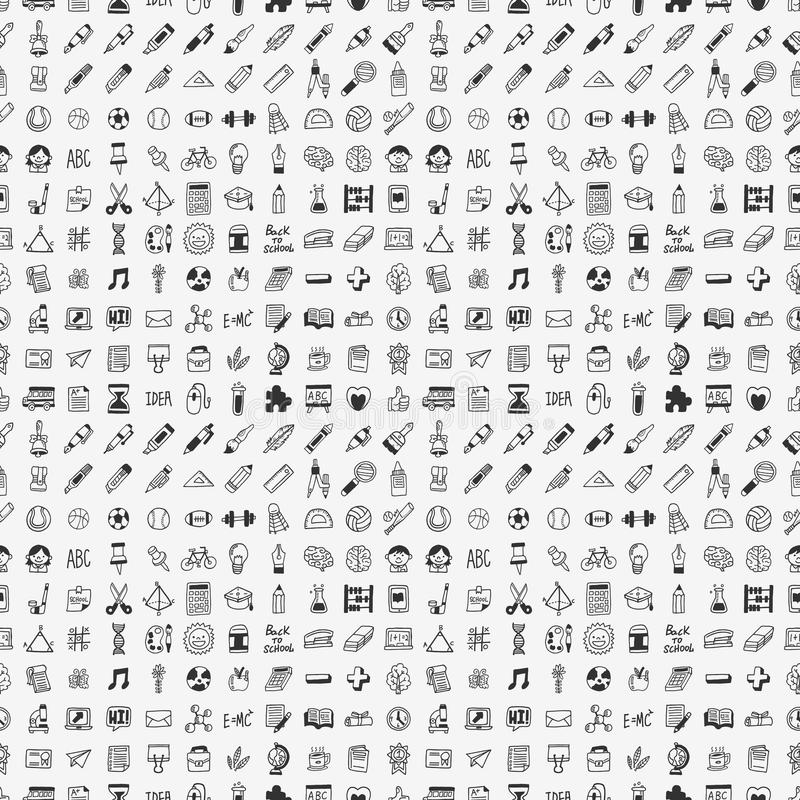 Seamless doodle back to school element pattern bac