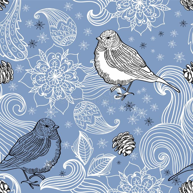 Download Seamless Doodle Background Bird And Floral Elements Royalty Free Stock Image - Image: 28216006