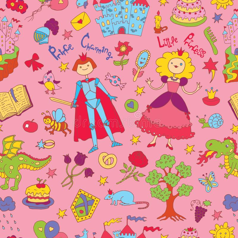 Seamless doodle background with colorful prince and princess concept on pink royalty free illustration