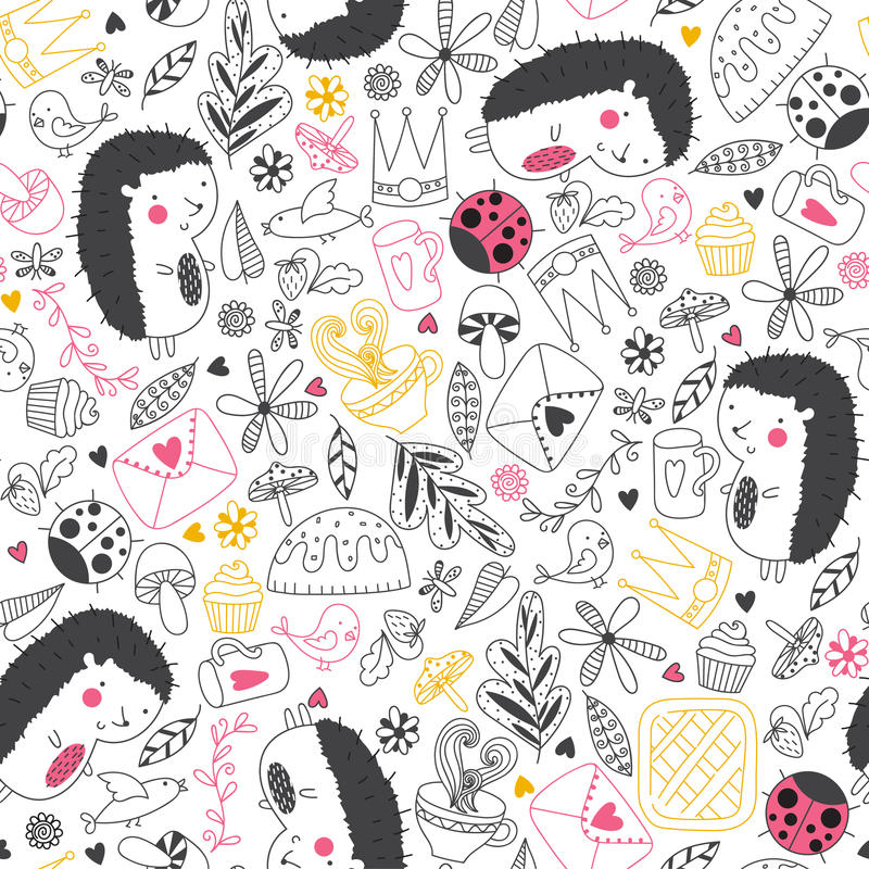 Cheerful Seamless Pattern With Hedgehogs Ladybugs Tea Cake And Other Cute ThingsSeamless Can Be Used For Wallpapers Fills