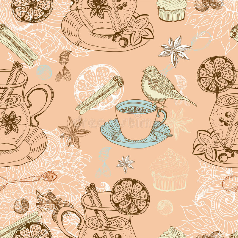 Download Seamless Doodle Background With Mulled Warm Wine Royalty Free Stock Images - Image: 27782709