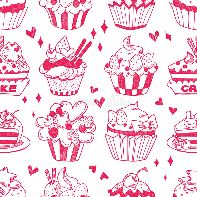 Download Seamless Doodle Cake Pattern Stock Vector - Image: 29080347