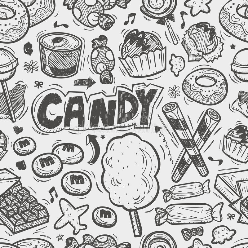 Seamless doodle candy pattern
