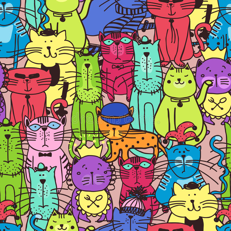 Seamless doodle cat pattern stock illustration
